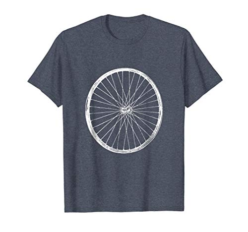 Mens Bicycle Wheel T-Shirt Cycling Fans Rim Spoke Dirt Road Tires Large Heather Blue - Bell Mountain Bike Saddle