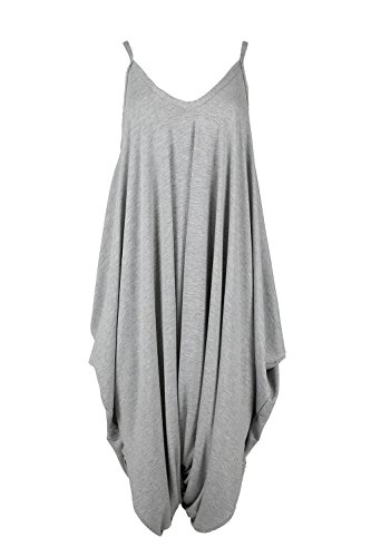 - Oops Outlet Women's Thin Strap Lagenlook Romper Baggy Harem Jumpsuit Playsuit S/M (US 4/6) Silver Grey