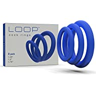 Super Soft Blue Cock Ring Erection Enhancing 3 Pack by Lynk Pleasure Products, 100% Medical Grade Pure Silicone Penis Ring Set for Extra Stimulation for Him - Bigger, Harder, Longer Penis