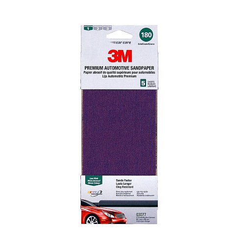 3M 03077 3-2/3'' x 9'' 180 Grit Premium Automotive Sandpaper Sheet (Pack of 20) by 3M (Image #1)