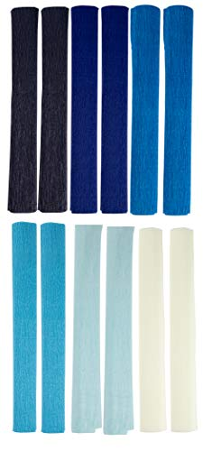 Crepe Paper Roll - 12-Pack Paper Party Sheets for Wedding Ceremony, Festival, Birthday Party, Events Decoration, 6 Assorted Colors, Blue Themed, 16.5 inches Wide, 8.2 Feet Long