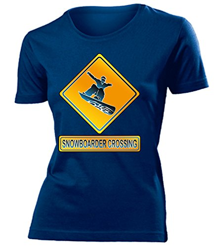 SNOWBOADER CROSSING mujer camiseta Tamaño S to XXL varios colores marina / Blanco