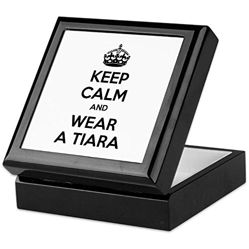 (CafePress Keep Calm and Wear A Tiara Keepsake Box, Finished Hardwood Jewelry Box, Velvet Lined Memento Box)