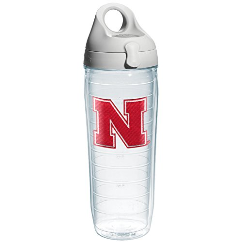 Tervis 1084219 Nebraska University Text Emblem Individual Water Bottle with Gray lid, 24 oz, Clear