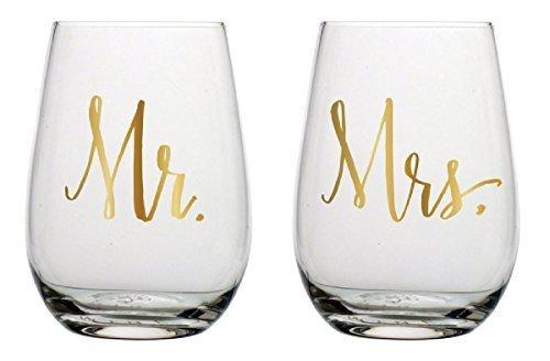 Slant Mr & Mrs Stemless Wine Glasses- Set of 2 -