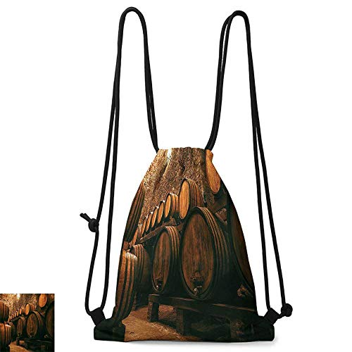 School backpack Winery Decor Collection Barrels for Storage of Wine Italy Oak Container in Cold Dark Underground Cellar W14