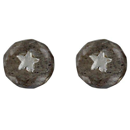 Les Poulettes Bijoux - Boucles d'Oreilles Argent Etoile et Perle Facettée de Labradorite