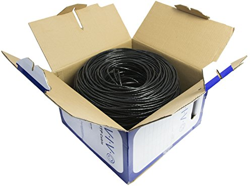 VIVO Black 500ft Bulk Cat5e, CCA Ethernet Cable, UTP Pull Box | Cat-5e Wire, Waterproof, Outdoor, Direct Burial (CABLE-V011) 2 CABLE TYPE - Cat5e bulk ethernet cable, 500ft roll, connector free MATERIAL - Solid CCA (Copper Clad Aluminum) 24 AWG, Waterproof Shielding, Gigabit Network Ready SOLID UTP - (4-pair unshielded twisted pair) wires for economic use