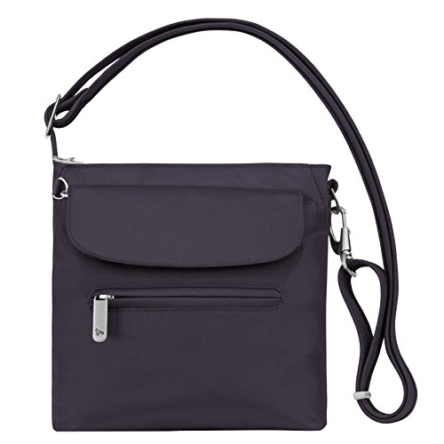 Mini Womens Bag - Travelon Women's Anti-Theft Classic Mini Shoulder Bag Sling Tote, Purple, One Size