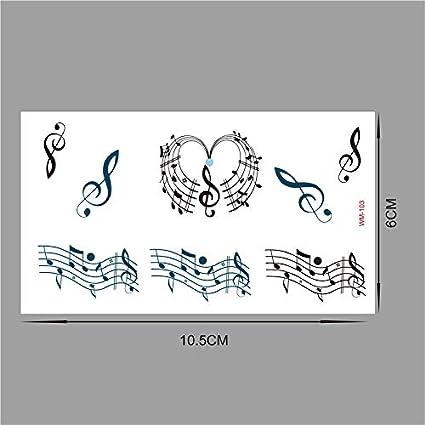 lijinjin 4 Piezas Original I Love Music Note Guitarra Tatuaje ...