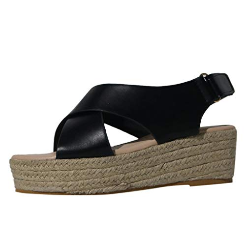 Womens Solid Color Crisscross Velcro Adjustable Breathable Low Wedge Summer Sandals Buckle Strap, MmNote Black ()