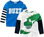 ROWEY Boys 2-Pack Dinosaur Long Sleeve T-Shirt 100% Cotton Toddler Tops Tee