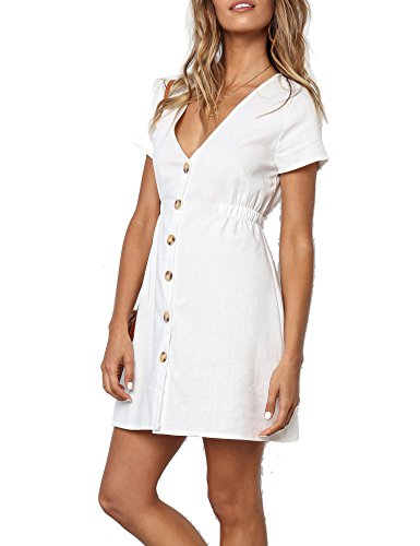 Button Lady Mini (Halife Women V Neck Short Sleeve Solid Fitted T-Shirt Mini Dress Beige,L)