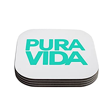 Kess InHouse Geordanna Cordero-Fields  Turquoise Pura Vida  Blue White Coaster, 4 by 4-Inch, White, Set of 4