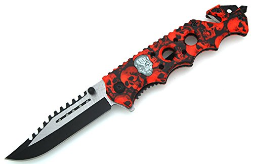 Snake Eye Tactical Skull Zombie Slayer GRIP HANDLE ASSISTED OPENING RESCUE POCKET KNIFE With Glass Breaker (Red)
