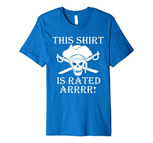 Mens This shirt is Rated R pirate t shirt Large Royal Blue - R Rated Costumes