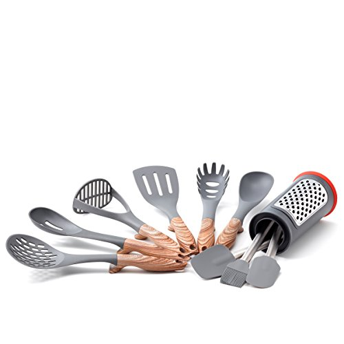 11 Pc. Hanging w/Caddy Kitchen Tools Set, Stainless Steel, Black, Brown - Old Dutch 1518