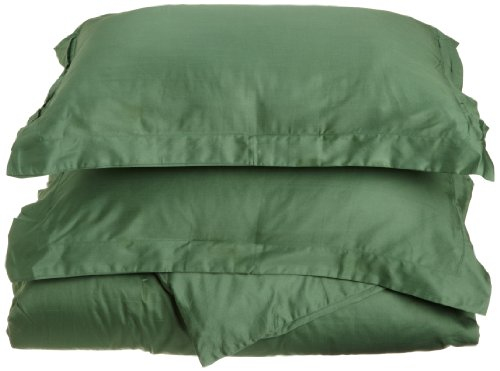 Superior 100% Premium Combed Cotton, Soft Single Ply Sateen, 3-Piece Duvet Cover Set, Solid, King/California King - Hunter Green ()