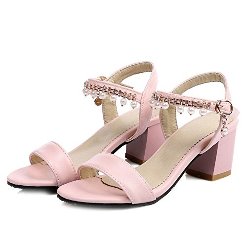 with Back Match SJJH Boho All Women and Sandals Open with Size Peep Pink and Large Toe Sandals qf1wAnZ1E