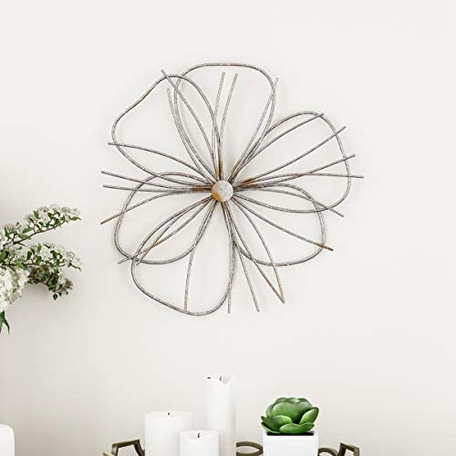 Lavish Home Wall Decor Metallic Wire Layer Flower Sculpture Contemporary Hanging Accent Art for Living Room, Bedroom or Kitchen Silver and Gold
