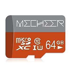 Micro SD Card 64GB, MECHEER Memory Card Micro SDXC Card Mini TF Card Class 10 UHS-3 Flash Memory Card High Speed 85MB/s C10, U3, Full HD, 64GB microSD ...