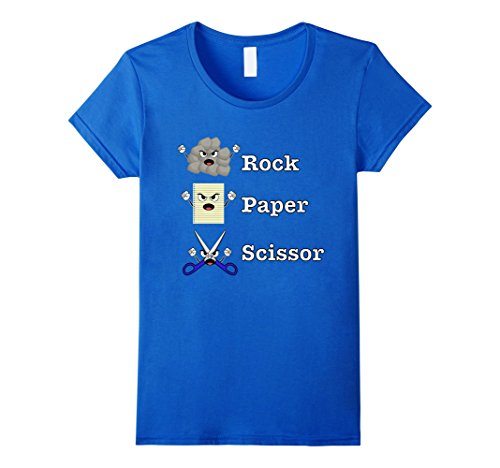 Trio Group Halloween Costumes (Womens Rock Paper SCISSORS Emoji Halloween Tee Shirts for Teachers Large Royal Blue)