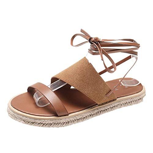 pantofola slingback 2 2 Dimensione up Sandali largo largo taglia toe Marrone cinturino con lace 7 le impreziositi open romana Marrone estivi Colore outdoor spiaggia scarpe per 6 UK donne piatti gladiatore Z4waZHq1