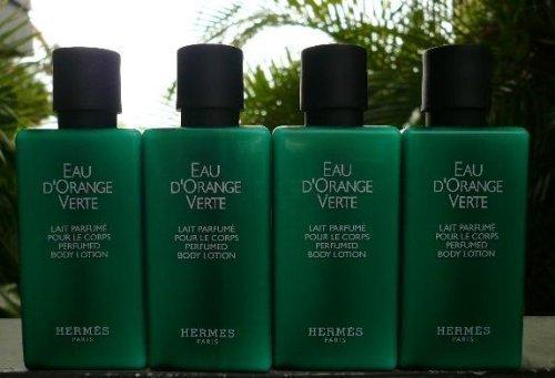 Hermes Eau d'Orange Verte 5.4oz (Four 1.35 Ounce Bottles) Body Lotion Eau Des Merveilles Body