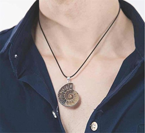Tmrow 1pc Charm Handmade Natural Conch Fossil Ammonite Wrapped Pendant Necklace