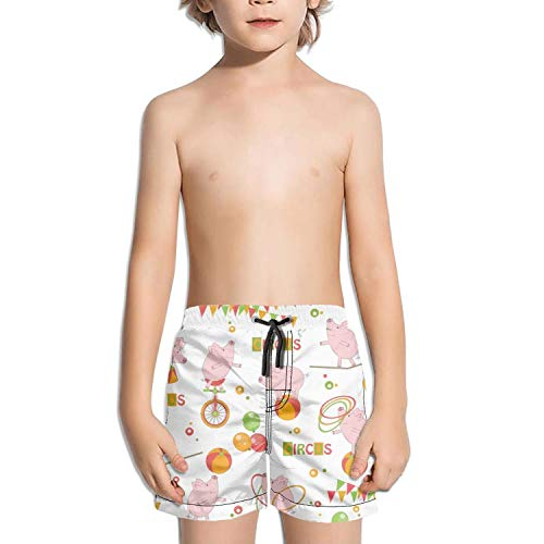 Lenard Hughes Boys Quick Dry Beach Shorts with Pockets Baby Colorful Cute Pig Playing with Ball and Hula Hoop Ride A Bicycle Swim Trunks for Summer ()