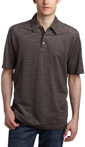 Perry Ellis  Men's Textured Stripe Polo,Dark Chocolate,XXL