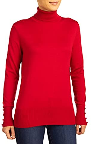 Cable & Gauge Women's Long Sleeve Turtleneck Top, Red Lacquer, Large - Turtle Lacquer