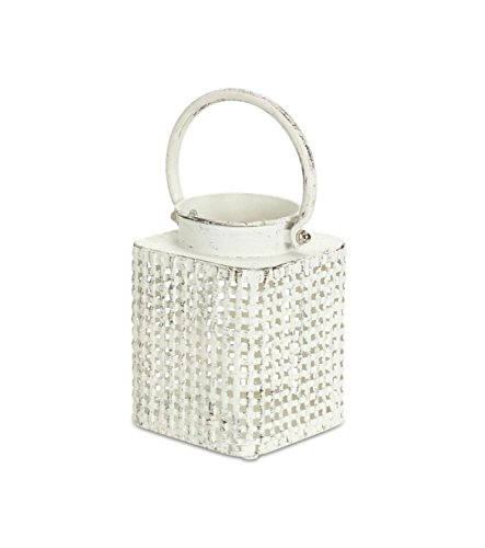 Melrose Set of 8 Antiqued White Candle Lanterns with Over Sized Handles and Basket Weave Style Body (Basket Weave Candle Holder)