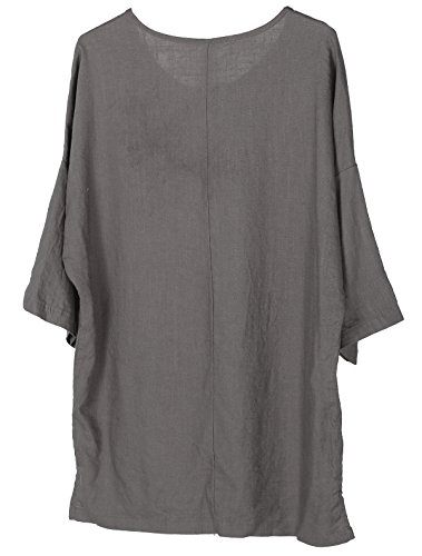 Minibee Women's Elbow Sleeve Linen Tunic Tops Solid Color Retro Blouse Gray L by Minibee (Image #2)