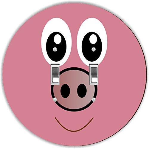 Rikki Knight RND-LSPDBL-132 Cute Cartoon Pig Face Round D...