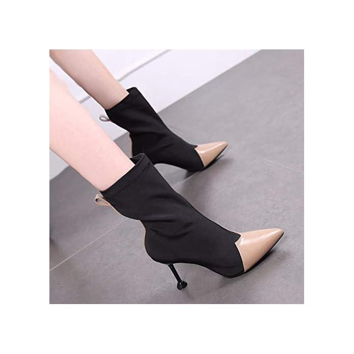 Kokqsx-piccole E Brevi Stivali Elastica Medio Moda Sharp Sottile Tacchi High Heeled Stivali