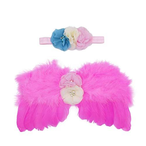 Wolken Newborn Baby Angel Feather Wing with Chiffon Flower Rhinestone Halo Headband Set Photo Props Outfit Costume (Hot Pink) -