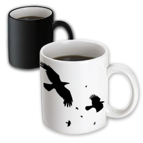 3dRose Murder of Crows, Mythological Halloween Birds, Magic Transforming Mug, 11-Oz (2)