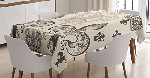Fleur De Lis Decorations (Fleur De Lis Decor Tablecloth by Ambesonne, Heraldic Pattern with Fleur de Lis and Crowns Tiara Iris Flowers Coat of Arms Knight, Dining Room Kitchen Rectangular Table Cover, 60 X 90 Inches)