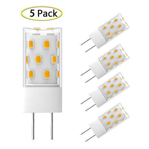 GY6.35 LED Bulb Dimmable 5W Equivalent to 50W Halogen Incandescent Replacement Bulbs, T4 JC Type G6.35/GY6.35 Bi-pin Base, AC/DC 12V Warm White 2700K-3000K Light Bulb (5 Pack)