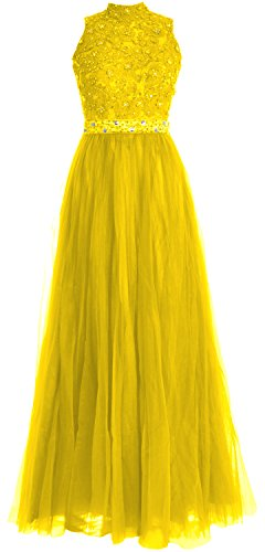 MACloth Women High Neck Lace Tulle Long Prom Dress Wedding Party Formal Gown Amarillo