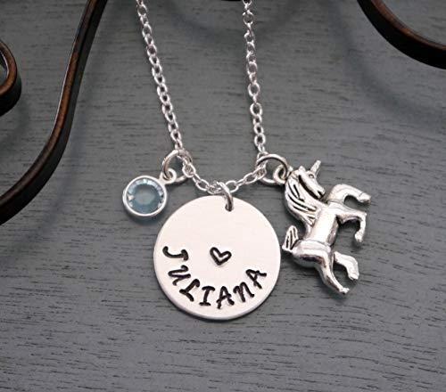 - Girls Unicorn Necklace - Personalized Unicorn Necklace - Name Necklace - Unicorn Jewelry - Silver - Unicorn Necklace - Unicorn Name Necklace - Custom - Pearl - Birthstone - Unicorn - Unicorn Gifts