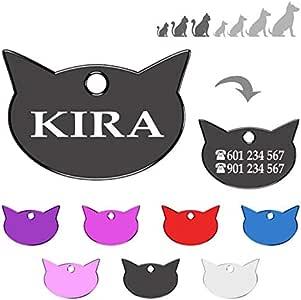 Iberiagifts - Placa en Forma de Cara de Gato para Gatos de Todas Las Edades Chapa Medalla de identificación Personalizada para Collar Perro Mascota grabada (Negro): Amazon.es: Productos para mascotas