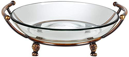 Kensington Hill Blaise Bronze Stand with Handles and Clear Glass Bowl ()