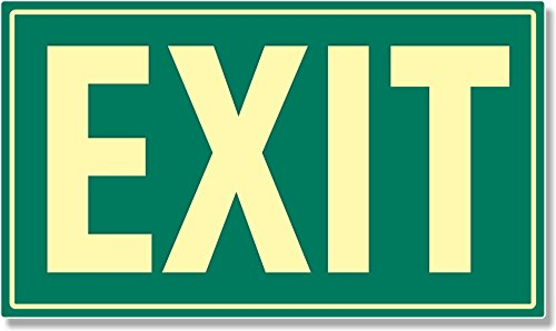 (Photoluminescent Aluminum Exit Sign (GREEN))