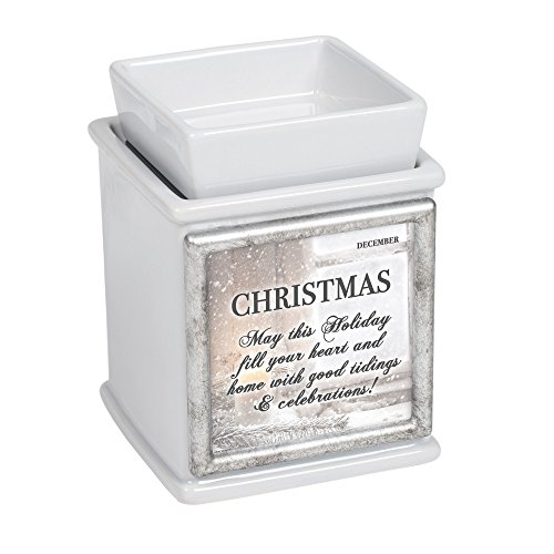 Elanze Designs Holidays of The Month Ceramic Slate Grey Interchangeable Photo Frame Candle Wax Oil Warmer