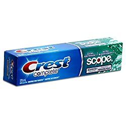 Crest Complete Extra Whitening+ Toothpaste with Scope Advanced Freshness, Minty Fresh Striped - 5.75 Fl Oz / 170 mL x 5 Pack