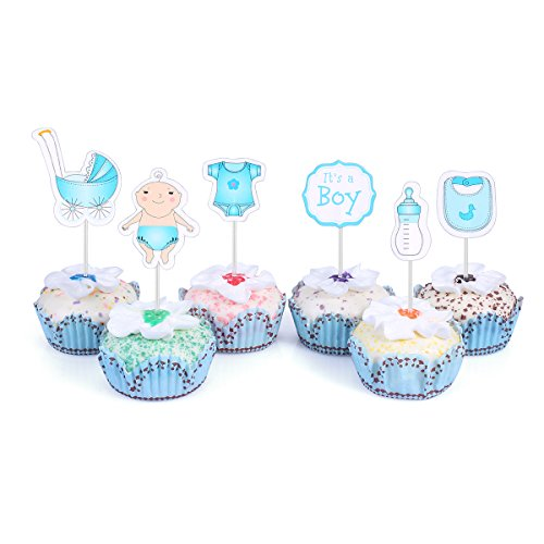 48 Cupcake Toppers for Baby Shower It's a Boy Kids Party Cake Decorations Blue -