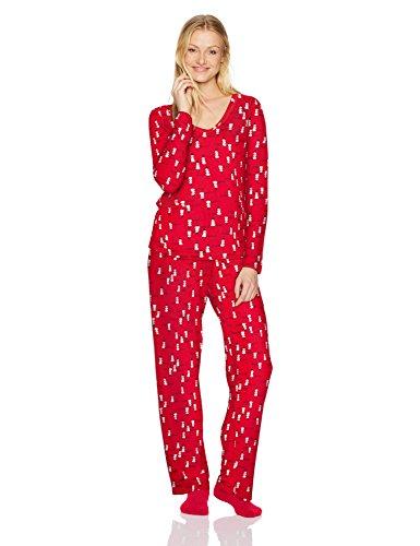 HUE Women's Mini Character Printed Rayon Tee and Pant 3 Piece Pajama Set, Tango Red/Snowman at Sunset, Large