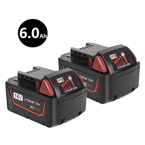 [Upgraded] Enegitech 18V 6.0Ah Lithium-ion Battery Extended Capacity for Milwaukee M18 XC Red Lithium M18B 48-11-1860 48-11-1850 48-11-1820 48-11-1828 48-11-1815 Cordless Power Tools by Enegitech